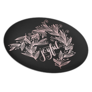 hand script joyful Plate