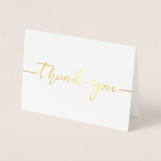 HAND SCRIPT THANK YOU LETTER CARD GOLD FOIL