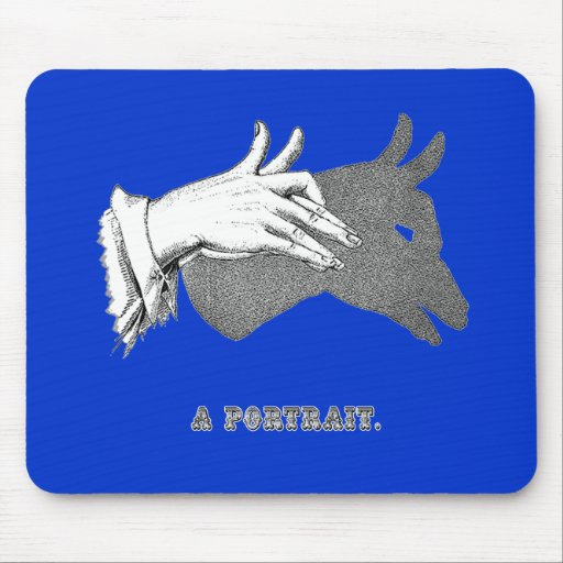 """Hand Shadow Art from an Antique Book """"Portrait"""" Mouse Pads"""