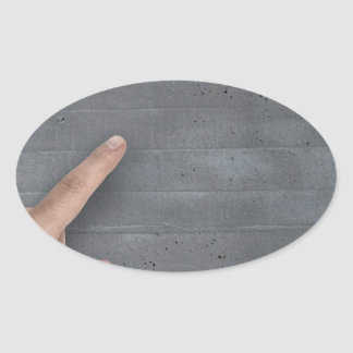 Hand showing concept on copy space template oval sticker