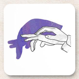 Hand Silhouette Anteater Purple Coasters