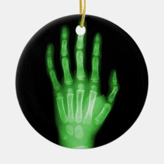 HAND SKELETON green XRAY DARK SCARY HUMAN BREAK BO Christmas Ornament