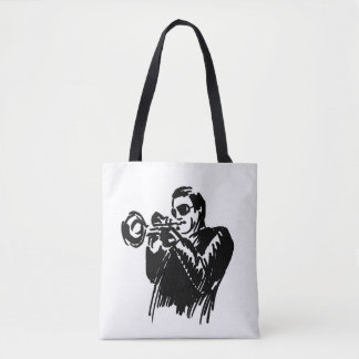 Hand sketch jazz trumpeter tote bag