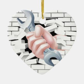 Hand Spanner Concept Ceramic Heart Decoration