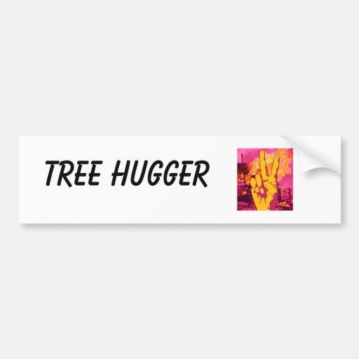hand, Tree Hugger Bumper Sticker