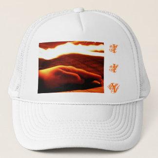 Hand under fire hat