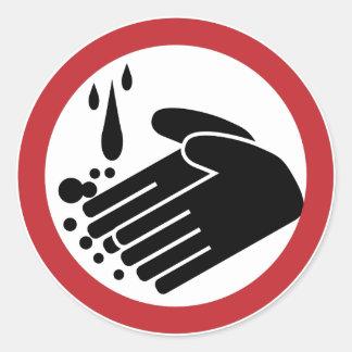 Hand Washing Symbol Round Sticker