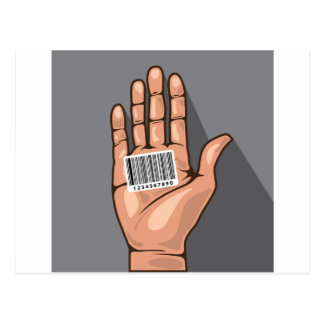 Hand with Barcode vector Postcard