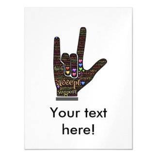 Hand with inspirational text magnetic invitations