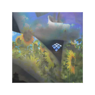 hand with window stretched canvas prints