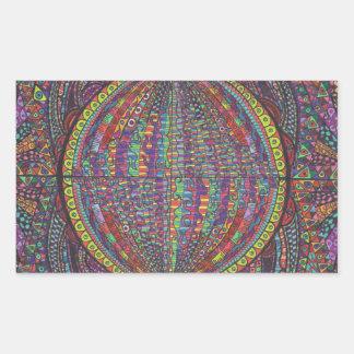 Hand Woven Design Rectangular Sticker