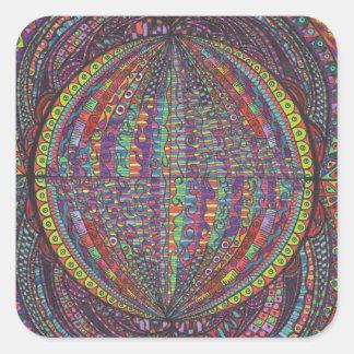 Hand Woven Design Square Sticker