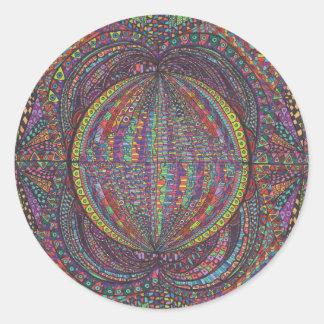 Hand Woven Design Round Stickers
