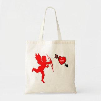 Handbag Cupid and Heart Red Canvas Bag