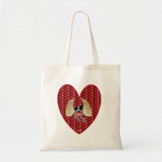 Handbag Dog Cupid Red Heart Glitter Canvas Bags
