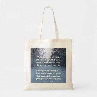 Handbag Poem Snow Journey By Ladee Basset Budget Tote Bag