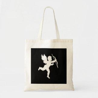 Handbag White Cupid On Black Canvas Bags