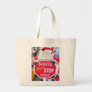 Handbag With Santa Stop Here Sign