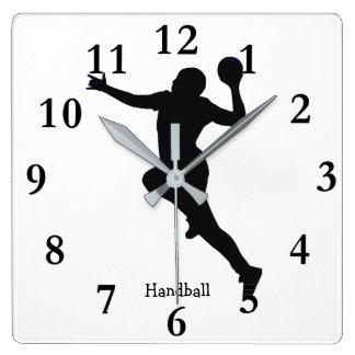 Handball Player Square Wall Clock