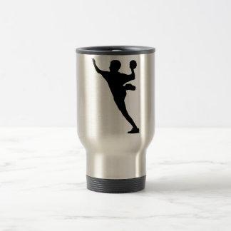 handball player travel mug