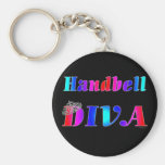 Handbell Diva Basic Round Button Key Ring