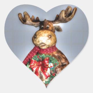 Handcarved-effect Wooden Christmas Reindeer Heart Sticker
