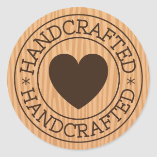 Handcrafted, brown stamp with heart on wood design round sticker