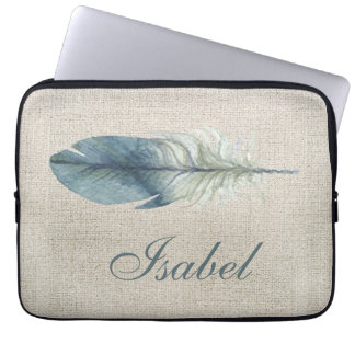 Handdrawn blue gray watercolor feather light beige laptop computer sleeve