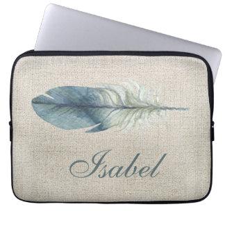 Handdrawn blue gray watercolor feather light beige laptop sleeve
