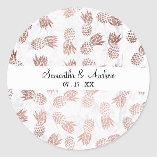 Handdrawn faux rose gold pineapples white marble classic