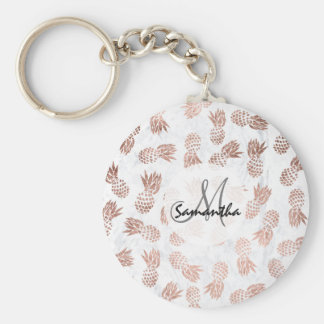 Handdrawn faux rose gold pineapples white marble key ring