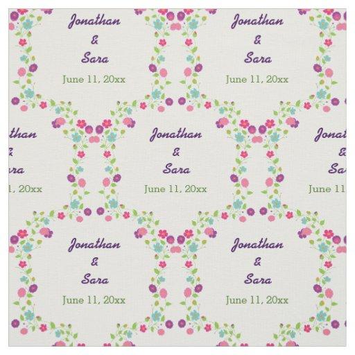Handdrawn Flowers Personalised Bride and Groom Fabric