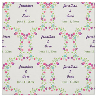 Handdrawn Flowers Personalized Bride and Groom Fabric