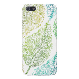Handdrawn modern green floral paisley leaf pattern iPhone 5/5S cases