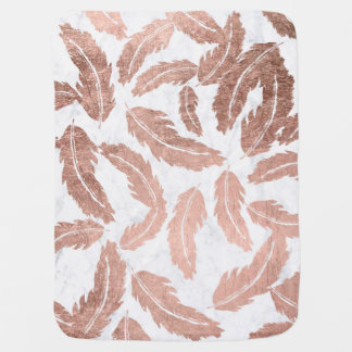 Handdrawn rose gold feathers pattern white marble baby blanket