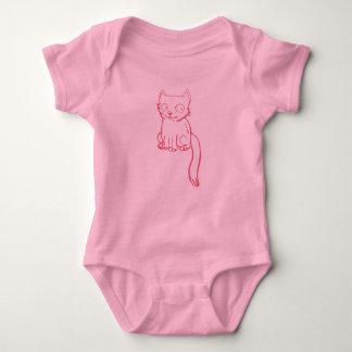 handdrawn sweet kitty cartoon baby bodysuit
