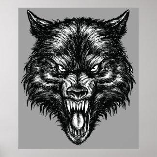 Handdrawn Wolf Poster