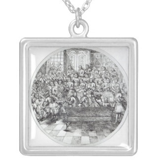 Handel conducting an oratorio, c.1740 silver plated necklace