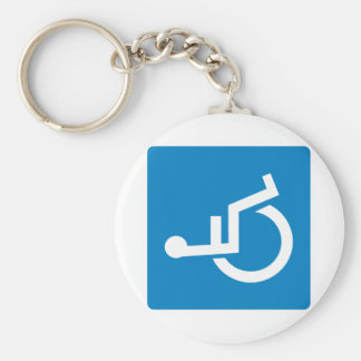 Handicap Accessibility Highway Sign Basic Round Button Key Ring