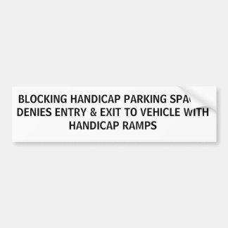 HANDICAP PARKING PHRASES 2D BUMPER STICKER