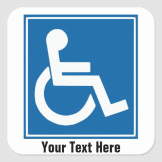 Handicap Sign Stickers/Labels Square Sticker