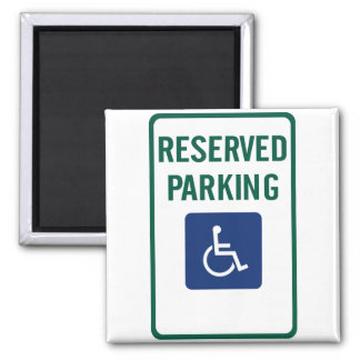 Handicapped Reserved Parking Highway Sign Square Magnet