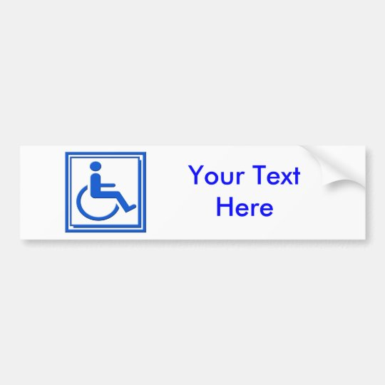 Handicapped Stylish Symbol Blue Bumper Sticker