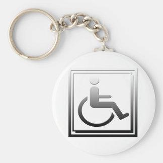 Handicapped Stylish Symbol Chrome Silver Keychains