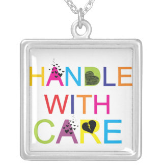 HANDLE WiTH CaRe Square Pendant Necklace