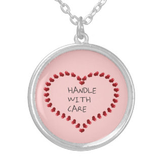 Handle with Care Round Pendant Necklace