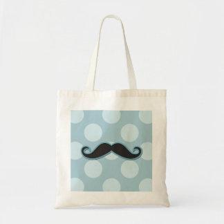 Handlebar Moustache, Polka Dots - Black Blue Tote Bag