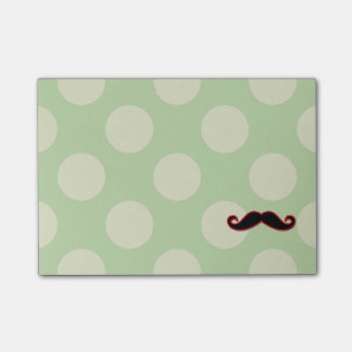Handlebar Moustache, Polka Dots - Black Green Red Post-it Notes