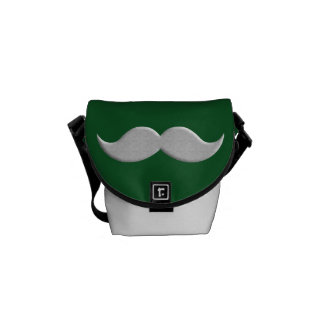 Handlebar Mustache Moustache on Green Background Courier Bags