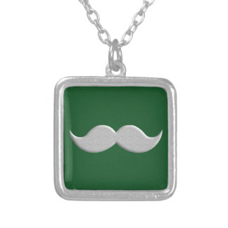 Handlebar Mustache Moustache on Green Background Necklaces
